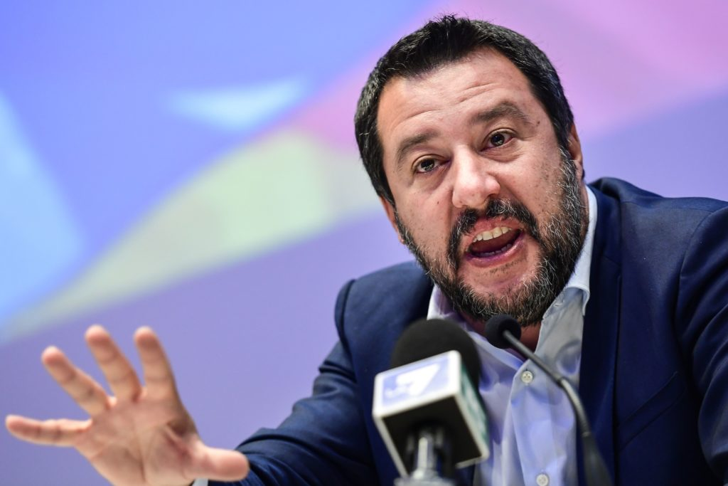 TOPSHOT - Italys Interior Minister, deputy PM and Federal Secretary of Italy's Northern League (Lega Nord) right-wing regionalist political party, Matteo Salvini speaks during a meeting of European nationalists on April 8, 2019 in Milan. - Italys Interior Minister, deputy PM and Federal Secretary of Italy's Northern League (Lega Nord) right-wing regionalist political party, Matteo Salvini is gathering on April 8 far-right parties from around Europe in Milan hoping to forge an unlikely alliance of nationalists ahead of next month's European parliament elections. (Photo by Miguel MEDINA / AFP)        (Photo credit should read MIGUEL MEDINA/AFP via Getty Images)